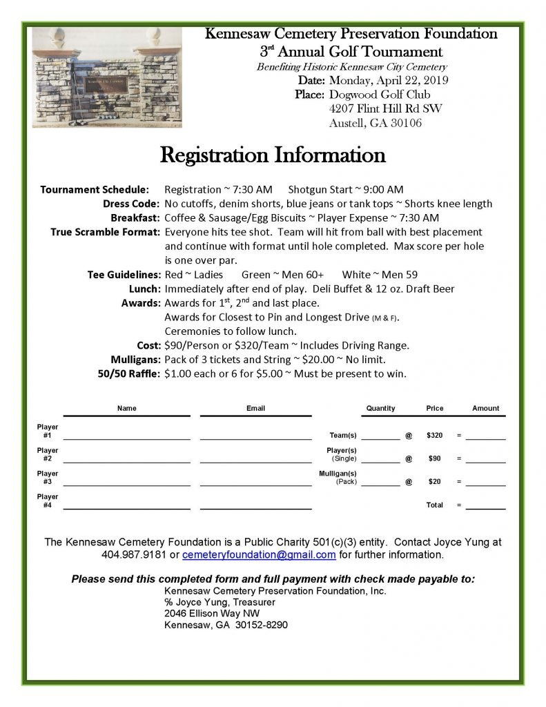 Registration form for Kennesaw Cemetery Preservation Foundation Third Annual Gold Tournament